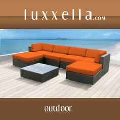 Luxxella Outdoor Patio Wicker MALLINA Sofa Sectional Furniture 7pc All Weather Couch Set ORANGE #patiofurniture #wickerfurniture #Outdoorwicker