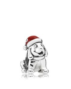 Pandora Charm - Sterling Silver & Enamel Christmas Puppy, Moments Collection