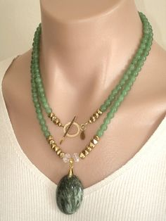 Ashira Green Jade Gemstone Necklace with GF door AshiraJewelry
