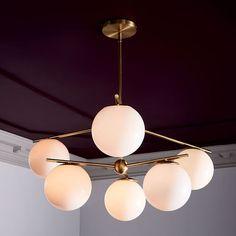 Sphere Stem 6 Light Chandelier Flushmount Living Room Lightingliving