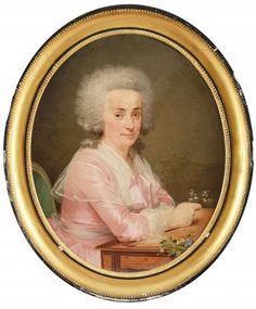 ECOLE FRANCAISE du XVIIIème siècle - Portrait de femme tenant dans sa main