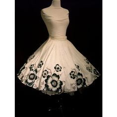 1950s Mexican Hand Painted Skirt in Black White ❤ liked on Polyvore