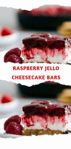 Raspberry Jello Cheesecake Bars – Page 2 – One Of Recipe Raspberry Desserts, Jello Desserts, Raspberry Jello Recipes, Jello Cheesecake, Coffee Cheesecake, Graham Cracker Crust, Graham Crackers, Strawberry Pretzel Salad, Chocolate Recipes