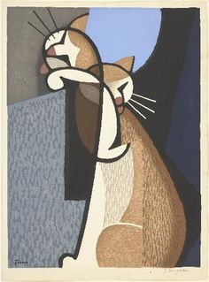 Inagaki Tomoo - Cat Making Up, 1955 - woodcut on paper
