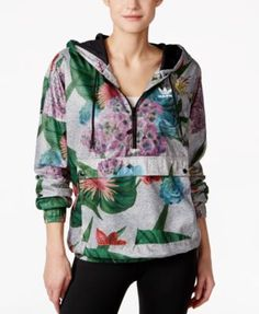 adidas Originals Floral-Print Half-Zip Windbreaker
