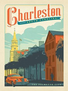 Charleston, SC: Broad Street - Anderson Design Group has created an award-winning series of classic travel posters that celebrates the history and charm of America's greatest cities and national parks. This print features a charming view of Broad Street in historic downtown Charleston. Printed on heavy gallery-grade matte finished paper, this print will look great on any home or office wall.