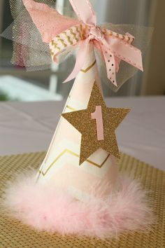 twinkle twinkle little star, party, first birthday, party hat, smash cake, hand made, pink and gold