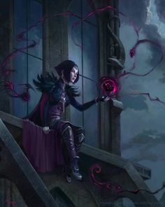 Black Mage sitting in a tower and practicing her dark art. Gothic fantasy by Markus Erdt. Medieval Fantasy, Dark Fantasy Art, Fantasy Girl, Fantasy Artwork, Dark Art, Fantasy Inspiration, Character Inspiration, Fantasy Character Design, Character Art