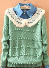 Green Fur Lapel Plush Ball Embroidery Sweater $39.68  #SheInside #hipster #love #cute #fashion #style #vintage #repin #follow