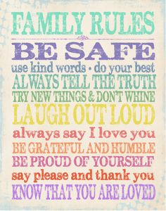 Family Rules. Would love to modernise this and hang it in our home.  Etsy banner  Etsy banners #etsybanners  http://www.etsy.com/shop/BannerSetDesigns?section_id=14009996