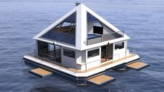 Architect Pierpaolo Lezzerini is creating his own Waterworld with the Wayaland Floating Community. The buoyant pyramids are inspired by a fusion of Mayan architecture and. Floating Architecture, Futuristic Architecture, Pyramid House, Water House, A Frame House, Floating House, Apartment Interior Design, Building Design, House Design