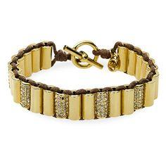 Michael Kors 'Glam Classics' Pavé Barrel Toggle Bracelet ($72) found on Polyvore