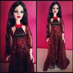 "Parnilla was bored of lounging around in her underwear, so she decided to raid the 16"" girls wardrobe and fell instantly for this old 'Fashion Boulevard' outfit 😄 #parnilla #evangeline #evangelineghastly #fashionboulevard #dollphotography #dollsofinstagram #goth #gothic #gothicgirl #dolls #doll"