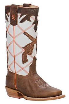 Anderson Bean Kids Brown Bison w/ Pistols on White Diamond Top Square Toe Boots