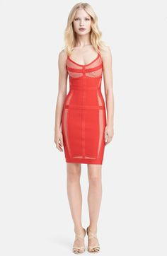Herve Leger Spaghetti Strap Mesh Inset Dress available at #Nordstrom love this but it would be a splurge