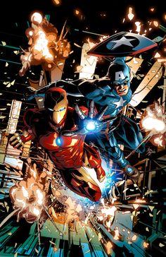 Iron Man & Captain America - Mike Deodato Jr. Colors: Rain Beredo