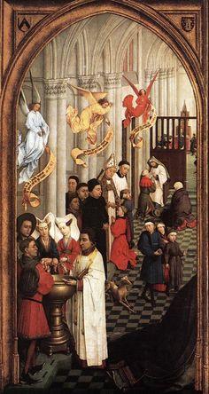 """Panel izquierdo del """"Tríptico de los Siete Sacramentos"""" (1445-1450), de Rogier van der Weyden."""