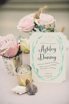 Teal, blush, ivory and gold invitations for a seaside wedding