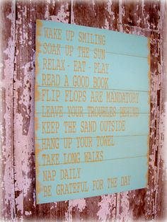Cottage Rules- Beach House Rules- Lake House Rules- Shabby Chic Planked Sign. $159.00, via Etsy.