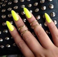 #NailsArt  #neonyellow #nails #nailart #stilettonails - bellashoot.com