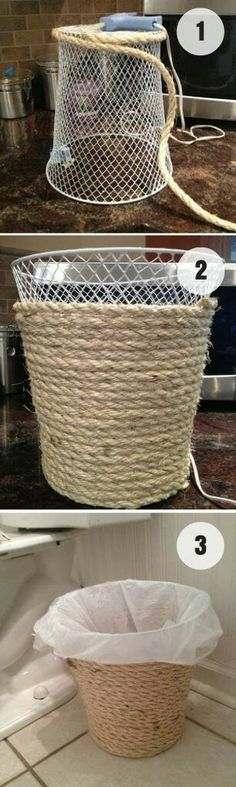 Keep wrapping rope around the bin and you'll create a wonderful vintage look to a bin.