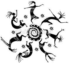 Dancing figures in a circle | Imagens vectoriais em stock © wikki33 #3107290