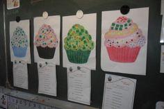 les cupcakes spécial 100ème joour d'école situation problème cycle 2 http://cliscachart.eklablog.com/la-fete-du-100-eme-jour-d-ecole-2014-a107497550