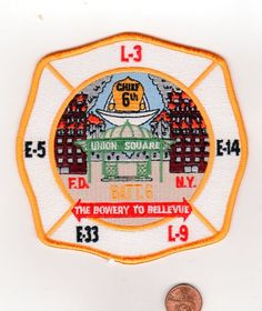 COMPANY FIRE PATCH FDNY NEW YORK CITY BATTALION 6 THE BOWERY TO BELLEVUE