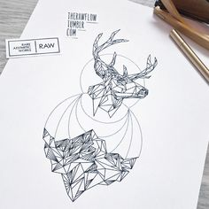 Geometric linework deer and mountains by raw