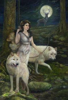 goddess diana huntress with white wolf - Google Search