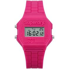 Superdry Women's Retro Digital Silicone Strap Watch (€14) ❤ liked on Polyvore featuring jewelry, watches, pink, retro digital watch, leather-strap watches, superdry watches, superdry and digital watch