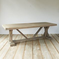 Protected Teak Trestle Dining Table, 8' in House + Home Tables at Terrain