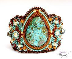 Bracelet Manchette Chrysocolle Turquoise Ambré Ivoire : Bracelet par source-aux-bijoux