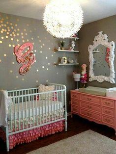 Gold dots - grandma's repainted dresser... love mirror on wall