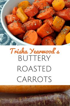 Trisha Yearwoods Buttery Roasted Carrots - Simple to make carrots that will wow your Thanksgiving guests this year Carrot Recipes, New Recipes, Favorite Recipes, Healthy Recipes, Oven Roasted Carrots, Roasted Vegetables, Veggies, Tricia Yearwood Recipes