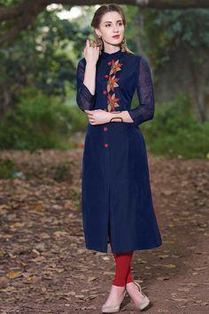Samyakk Blue Georgette Embroidered Front Cut Kurti
