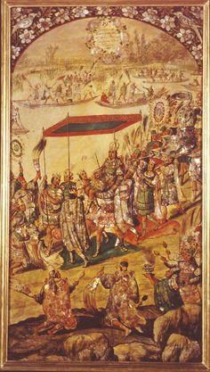 Conquista de México. Recibimiento de Moctezuma (1698), de Juan y Miguel González