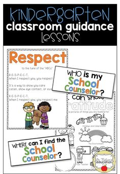 Kindergarteners learn respect, responsibility, self-discipline, and more in this year's worth of classroom guidance lessons! Elementary School Counseling, School Counselor, Elementary Schools, Counseling Activities, Career Counseling, Kindergarten Lessons, Kindergarten Classroom, Character Education, Physical Education