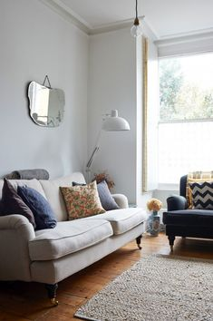 Fresh and Clean: A London Chef Lives the Way She Cooks - Remodelista living room victorian sofa simple home interior Home Living Room, Living Room Designs, Living Room Decor, Living Spaces, Bedroom Decor, Colourful Cushions, Bar Furniture, Decoration, Family Room