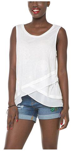 #Desigual Shirt - Modell Springfield, Muster: ton-in-ton Mandala, weiß. Wickeloptik.