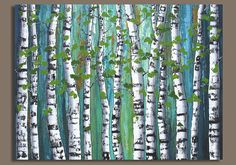 This XL Birch Tree Painting Abstract Birch Trees Birch Trees is just one of the custom, handmade pieces you'll find in our acrylic shops. Project Abstract, Abstract Tree Painting, Abstract Landscape, Landscape Paintings, Abstract Trees, Painting Art, Abstract Art, Landscapes, Evergreen Tree Tattoo