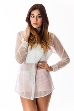 5a1c8ddb2ab James Sheer Button Up in White Clueless Outfits