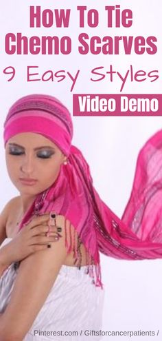 Chemo Scarves How guide with Step by Step Videos Demo. Great for cancer patients with hair loss after chemotherapy treatment. Head Scarf Tutorial, Chemo Hair Loss, Scarves For Cancer Patients, Hair Scarf Styles, Hair Wrap Scarf, Head Scarf Tying, Tie Head Scarves, Hair Loss Remedies, Head Coverings