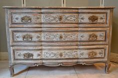 18th century Painted Serpentine Front Commode | From a unique collection of antique and modern commodes and chests of drawers at http://www.1stdibs.com/furniture/storage-case-pieces/commodes-chests-of-drawers/
