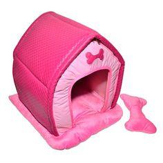 Casinha Pelúcia e Matelassê Rosa e Pink São Pet - MeuAmigoPet.com.br #petshop #cachorro #cão #meuamigopet
