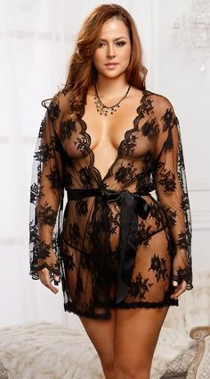 98079d2e73 Plus Size Lace Robe with Butterfly Sleeves