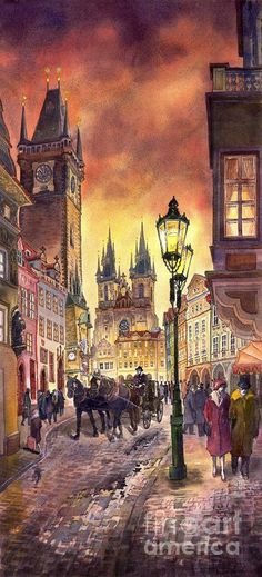 Cityscape Painting - Prague Old Town Squere by Yuriy Shevchuk Town Drawing, Prague Old Town, Art Watercolor, Art Abstrait, Beautiful Paintings, Les Oeuvres, Illustration, Art Photography, Street Art