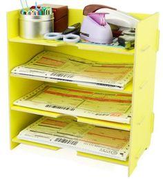 Menu Life Desk File Letter Trays File Desk File Storage Cabinet Box A5 Size (Yellow)