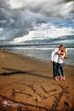 Gorgeous if it's a cloudy morning. Maybe instead of the initials, write in our date for a simple save the date photo.