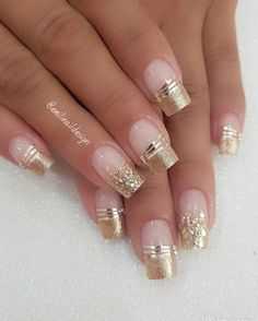 faded french nails With Art – faded french nails With Art… – Beauty Wedding Nails Glittery Nails, Shiny Nails, Rhinestone Nails, Fancy Nails, Gold Nails, Cute Nails, Fancy Nail Art, Gold Nail Art, Glitter Nail Art